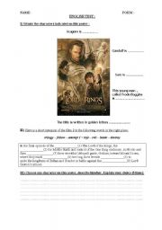 English Worksheet: Lord of the Rings poster test