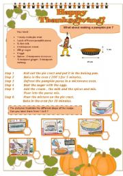 English Worksheet: THANKSGIVING - part 3 - a recipe
