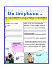 English Worksheets: On the phone...
