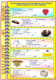 English Worksheet: Order of Adjectives with B/W and answer key - **fully editable