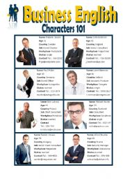 English Worksheet: Business English - Characters 101 - Male and Female - Elementary Speaking - Group Activity and Role Play - Introduction