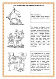 English Worksheets: THE STORY OF THANKSGIVING DAY