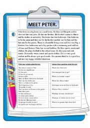 English Worksheets: MEET PETER. READING COMPREHENSION.