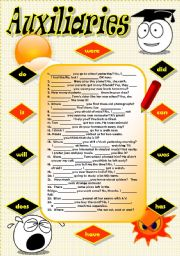 English Worksheet: AUXILIARY VERBS: PRACTICE