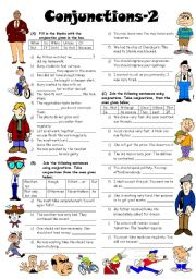 English Worksheets: Conjunctions-2 (Editable with Answers)
