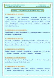 English Worksheet: USEFUL EXPRESSIONS FOR WRITING AN ESSAY