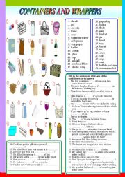 English Worksheet: containers and wrappers