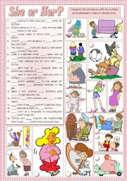 English Worksheet: SHE or HER?