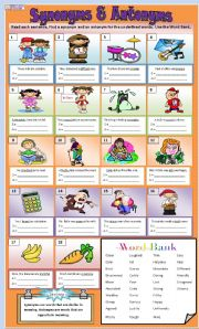 English teaching worksheets: Synonyms and antonyms