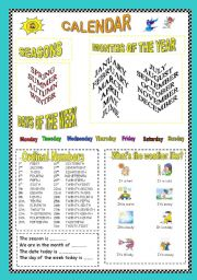 Calendar: seasons, months, days of the week, ordinal numbers and weather.