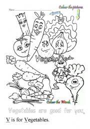 V Is For Vegetables English worksheets: V ...