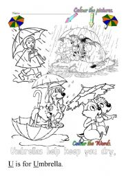 English Worksheets: U is for umbrella
