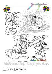 English Worksheets: U is for umbrella