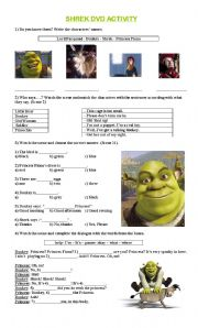 English Worksheets: Shrek 1 Very simple activity , great for beginners