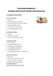 English Worksheets: Vocabulay GREETINGS