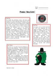 English Worksheets: Poppy Spy Coin