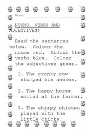 English Worksheets: Colour the nouns. verbs and adjectives