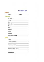 English worksheets: All About Me Time Capsule Worksheet