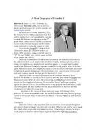 English Worksheet: Malcolm X reading excercise