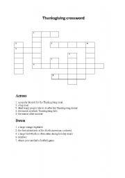 English Worksheet: THANKSGIVING CROSSWORD
