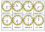 English Worksheet: Telling Time Bingo Game. Card nr. 3/6