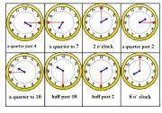 English Worksheet: Telling Time Bingo Game. Card nr. 5/6