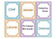 English Worksheets: Charades ( 60 Flash cards)