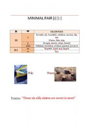 English Worksheets: Minimal Pair [i]  [i:]