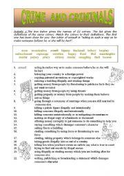 English Worksheets: crime and criminals