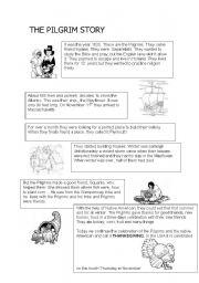 english worksheet the pilgrim story. Black Bedroom Furniture Sets. Home Design Ideas