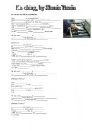 English Worksheet: Ka-ching, by Shania Twain