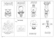 English worksheet: The family (minibook)