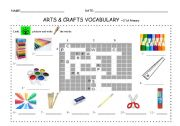 English Worksheets: ARTS & CRAFTS CROSSWORD