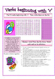 English Worksheets: Verbs (C)...A list of verbs classified by their beginning sounds.