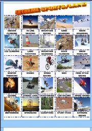 english worksheet extreme sports land pictionary. Black Bedroom Furniture Sets. Home Design Ideas