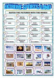 English Worksheet: EXTREME SPORTS/LAND/MATCHING
