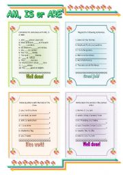 English worksheet: Am - is - are