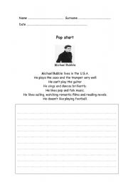 English Worksheets: Writing pop star