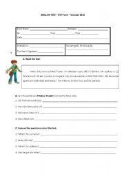 English Worksheet: 6th grade english test