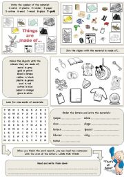 English Worksheet: Things are made of materials