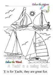 English Worksheets: Y is for Yacht