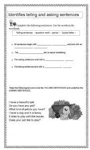 English Worksheets: TELLING AND ASKING SENTENCES