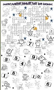 English Worksheet: shapes,colours,numbers,animals and toys