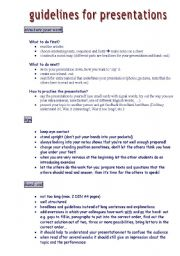 English Worksheets: guidelines for presentations
