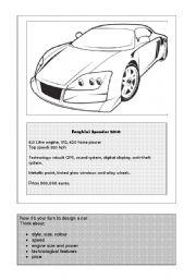 English Worksheets: Design a Car