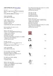 English Worksheet: JUST THE WAY YOU ARE - BRUNO MARS