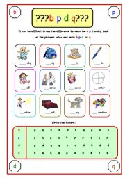 English Worksheets: confusing letters b p d q