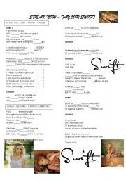 English Worksheets: Song Speak Now by taylor Swift
