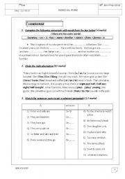 English Worksheets: remedial work for the 7th formers
