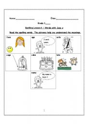 English Worksheets: Words with Long a